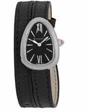100% Authentic Bvlgari Serpenti Black Dial Ladies Double Wrap Leather Watch NWT