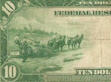 LARGE 1914 $10 DOLLAR BILL FEDERAL RESERVE NOTE CURRENCY OLD PAPER MONEY Fr 943A