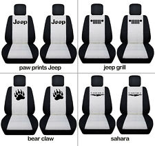 Fit JK wrangler  front car seat covers black-white w/  jeep grill, sahara...
