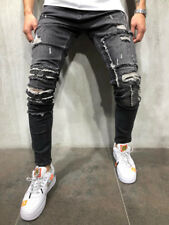 Ripped&Repaired Jeans Streetwear Distressed Patched Knees Ring Detail 3973