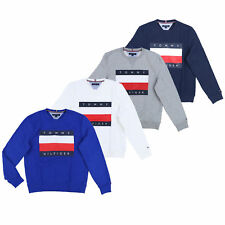 Tommy Hilfiger Mens Sweatshirt Pullover Crew Neck Graphic Flag Logo Fleece Lined