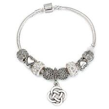 Dangle Charm Bracelet for Women With Heart Crystal Beads fit Snake Chain