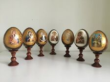 ASSORTED HAND MADE WOODEN EGGS ON STAND RELIGIOUS ICONS ORTHODOX MARY JESUS 18cm