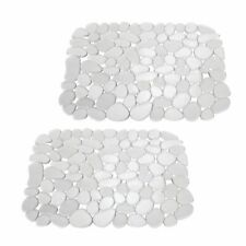 mDesign Kitchen Sink Mat - Quick Draining, Pebble Design - Small, 2 Pack