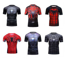 Mens Compression Marvel Spiderman Short T-Shirt Running Workout Gym Cool Dry Fit