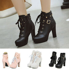 Women Platform Ankle Boots High Heel Studded Lace Up Buckle Strap Winter Shoes