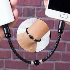 Portable Mini Micro USB Type C Charging Cord Leather Bracelet Sync Data Cable