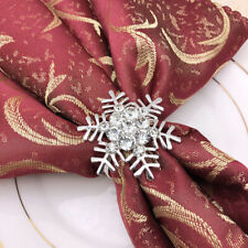 6pcs Snowflake Napkin Rings Metal Rhinestone Dinning Table Settings for Banquet