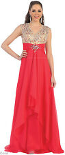 NEW PROM V-NECK EVENING GOWNS EXPOSED BACK FLOWY LONG DRESSES FORMAL DANCE PARTY