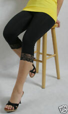 Black Premium CottonLeggings with Lace 3/4 Length All Size Variations