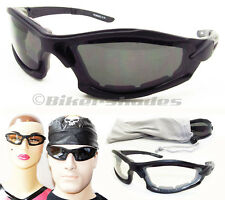 Biker Motorcycle Riding Glasses Goggles Sunglasses Foam Padded Clear Night Smoke