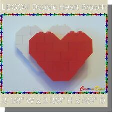 BrickCrafts LEGO® Fashion Jewelry Red/White Double Heart Brooch Pin