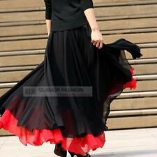 Double layer Full Circle Chiffon Long Skirt XS ~ 3XL GF0688