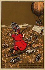 Asian POSTER.Stylish Graphics. Man and Rabbits escaping. Art Decor.847