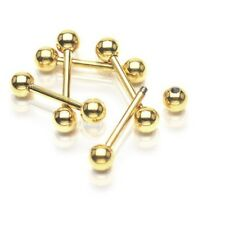 GOLD PLATED BARBELL TONGUE RING 14G 3 SIZES 5MM C209