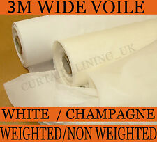50 Metres White / Champagne Curtain Voile 300cm Wide