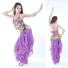 New Belly Dance Costume Performance Practice 3 Pieces Bra&Pants&Belt 12 colours