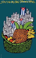 POSTER.Stylish Graphics.Cine cubano en Brasil.City & fruit Deco Art.1430