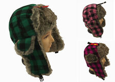 New Adults Trapper Hat with Faux Fur Trim Big Checked Design. One Size, Unisex.