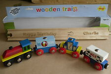 New PERSONALISED Wooden Train Track with Train Set - BRIO compatible Ideal Gift