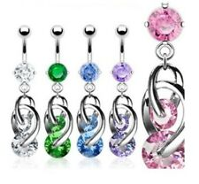 COSMO TWIST CZ BELLY NAVEL RING GEM DANGLE BUTTON PIERCING JEWELRY B133