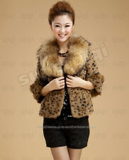 Real Genuine Rabbit Fur Leopard Coat Raccoon Collar Clothing Wearcoat Jacket