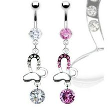 GEM BUTTERFLY BELLY NAVEL RING CZ PRONG SET DANGLE BUTTON PIERCING JEWELRY B81