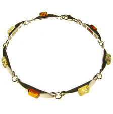 BEAUTIFUL ELEGANT BALTIC AMBER & STERLING SILVER 925 DESIGNER BRACELET JEWELLERY