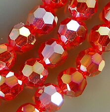 4mm Faceted Red Rainbow AB Crystal Round Beads 98pcs