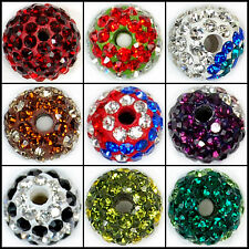 8mm Color Round Ball Pave Crystal Rhinestone Spacer Beads Jewelry DIY Findings