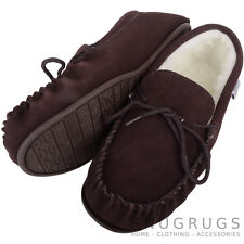 MENS GENUINE SUEDE MOCCASIN SHEEPSKIN SLIPPERS HARD SOLE DARK BROWN SIZES 6-15