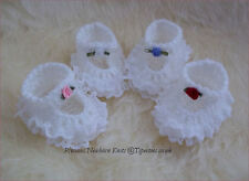 Newborn or Reborn Baby Girls Handmade Crochet Lace Booties Bootees Shoes