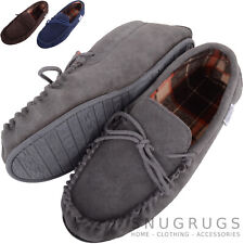 MENS GENUINE SUEDE MOCCASIN SLIPPERS BROWN TARTAN STYLE COTTON LINED SIZES 6-12