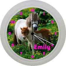 PERSONALISED SHETLAND PONY HORSE PLASTIC WALL CLOCK GIFT