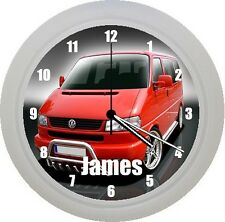 PERSONALISED VW VOLKSWAGEN TRANSPORTER T5 PLASTIC WALL CLOCK GIFT