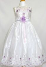 Girl Pageant 1st communion Formal dress White w/lilac flower size 2 4 6 8 10 12