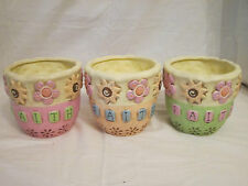 NEW FAITH SPIRITUAL FLOWER PLANTERS POT CONTAINER POTTERY 3 CHOICES & 3 COLORS