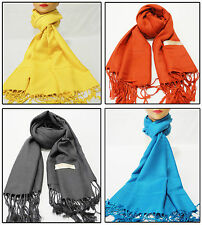 SUPER SOFT PASHMINA SILK CASHMERE SHAWL SCARF WRAPS STOLE NECK WARMER PLAIN