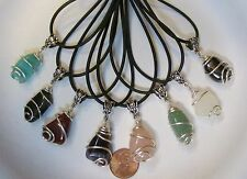 "One Wire Wrapped Tumbled Stone Pendant w/Cord & Bail- 3/4"" Natural Gemstones"