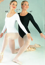 NWT CAPEZIO LONG SLEEVE WHITE BLACK LEOTARD MICROFIBER LADIES TB135 Dancewear