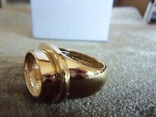 Goldplated Oval Ring Setting- Appx 17mm x 12mm-Thick Band