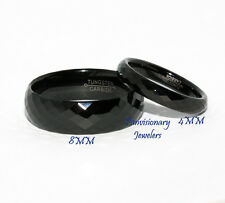 8MM  Faceted Dome Men's Women's Black IP Tungsten Ring Wedding Band