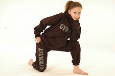 Rhinestudded gymnastic tracksuit bottoms training gear warm up joggers