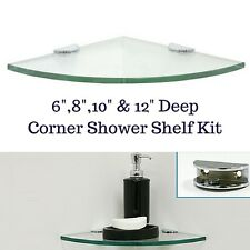GLASS CORNER SHOWER SHELF - ROUNDED - With Half-Round Mounting Clamps