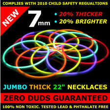 "50 22"" Premium Glow Stick Necklaces, extra thick 7mm diameter (10 colors)"