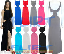 Womens Twist Front Cut Out Maxi Dress Ladies Long Sleeveless Top SEXY 8 10 12 14