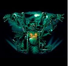 Green Skeleton and Flames on Chopper Biker Motorcycle T Shirt