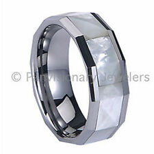 Tungsten Carbide Ring 8mm Octagon White Mother of Pearl Faceted Inlay