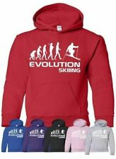 Evolution Of Skiing Skier Sport Boys Girls Kids Hoodie Age 5-13