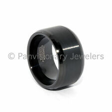 Mens Tungsten Carbide Ring 12MM Black Brushed Beveled  Comfort Fit Wedding Band